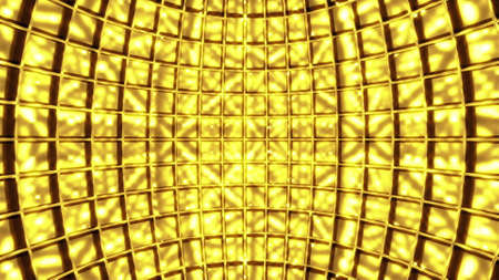 Inside of golden disco ball, computer generated. 3d rendering rotation background Фото со стока