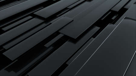 3d rendering of black glossy rectangular panels at different levels. Computer generated abstract geometric backdrop.