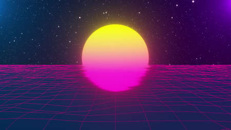 Wavy neon grid with big sun, computer generated. 3d rendering backdrop of retro style