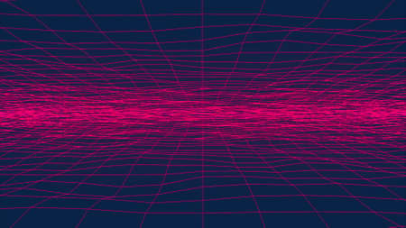 Wavy neon grid, computer generated. 3d rendering backdrop of retro style