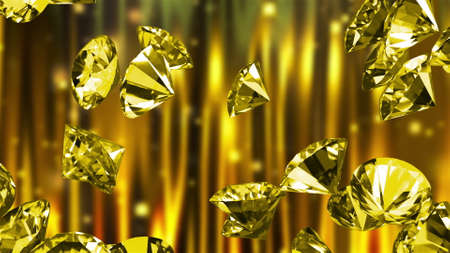 Many large diamonds, computer generated. 3d render of beautiful background.
