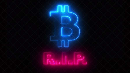 Computer generated bitcoin RIP symbol with light effect. 3d rendering of crypto currency logo. Financial backdrop
