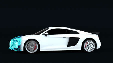 Changing the shape of a sports car, computer generated. 3d rendering technology futuristic backdrop Фото со стока