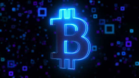 Computer generated neon bitcoin symbol with blue light effect. 3d rendering of crypto currency logo against the background of blurred particles