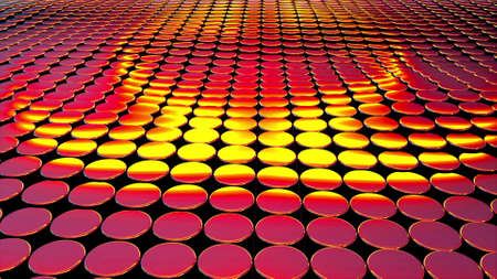 Computer generated iridescent round cylinders. 3d rendering of abstract backdrop
