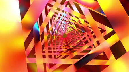 Computer generated a iridescent tunnel. 3d render of way from triangular parts. Abstract backdrop