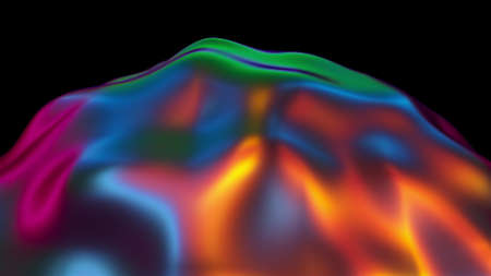 Fluid iridescent blob with a bumpy surface, computer generated, 3d rendering abstract backdrop