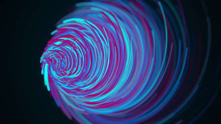Bright funnel of random lines, computer generated. 3d rendering of an abstract spiral background. Фото со стока