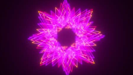 Set of stars neon splines, computer generated. 3d rendering glowing backdrop Фото со стока