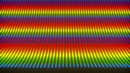 Computer generated bent neon lines. 3d rendering stripes backdrop with rainbow light
