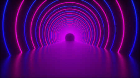 3d render of circle neon tunnel. Abstract backdrop from round arcade. Computer generated a virtual glowing road 写真素材