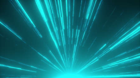 Fast bright neon rays, computer generated. 3d rendering abstract background