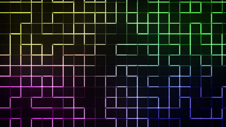 Neon lighting of blocks and gradient of lines, computer generated. 3d render abstract backdrop
