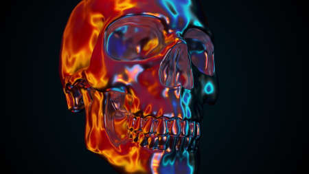 Iridescent human skull, computer generated. 3d rendering of abstract colorful backdrop