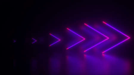 Computer generated abstract background. Neon arrows, 3D rendering direction concept 写真素材