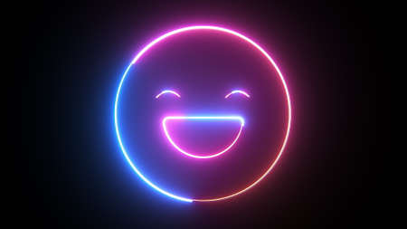 Neon happy emoji symbol, computer generated. 3d rendering of emotion background