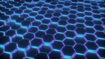 3d rendering of abstract glowing background. Computer generated neon hexagonal