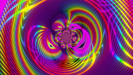 Geometric party with 3d render futuristic rainbow vortex and swirling gradient. Electronic flashes with opening of cosmic gates hyperspace. Digital northern lights with swirling waves stellar.
