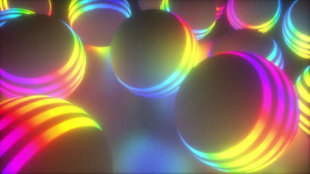 Creative geometric tracery of large 3d render balls spinning in space. Bright planets shape in digital concept of global decoration movement in hazy cosmic surface.