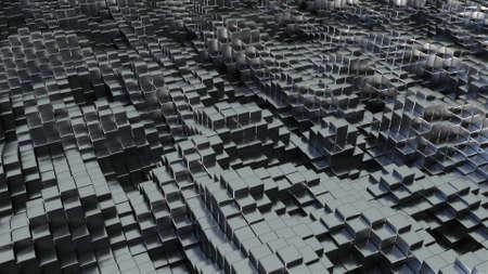 Mosaic city construction in web 3d render space. Geometric tiles in futuristic technology art design. Formation of virtual decoration surface create alternative world. Reklamní fotografie