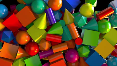 Random carpet from various 3d render of pyramids and squares with balls cylinders. Polygonal shapes for childrens development kit and bright creative presentation infographic process.