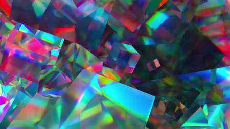 Bright precious 3d render geometrical stones with glare of magical gemstone light. Polygonal iridescent sapphires reflecting quartz minerals and prismatic abstract crystals.