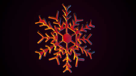 Icy 3d render six sided geometric figure with rays and twisted ornaments. Festive winter crystal with bright highlights natural abstract design. Christmas symbol and snowfall decoration.