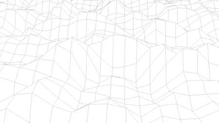 Wavy wireframe with black lines, liquid surface imitation, 3d rendering computer generated backdrop
