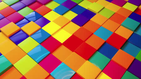 Geometric 3d render simple squares laid with lines on surface. Multicolored boxes in dynamic lighting with bright highlights. Digital wall creative presentation made of blocks