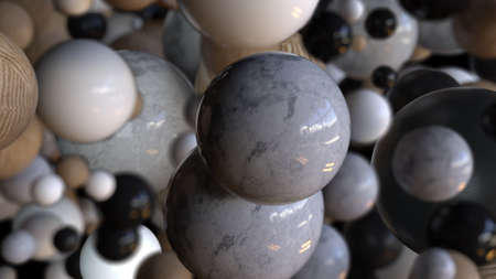 Marble stone 3d render balls falling into void. Wooden embossed bubbles in realistic slow motion. Abstract molecules in chaotic flight with futuristic decorative graphics.