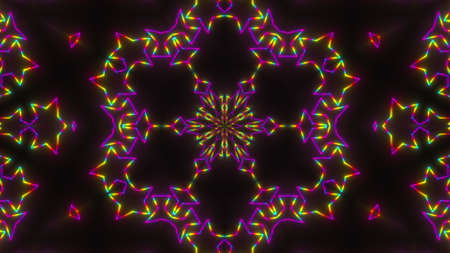 Abstract neon kaleidoscope background, 3d rendering computer generated background Фото со стока