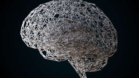 Computer generated artificial intelligence. 3d rendering of the shape of the human brain from a wireframe against the background of colored lights