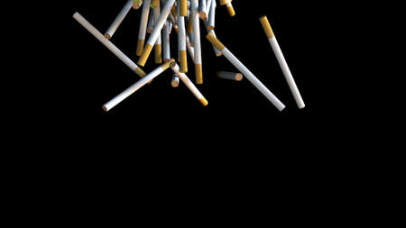 Stream of cigarettes with filter pouring into 3d render of surface. Presentation of environmental pollution and harm to health. Nicotine addiction and lung cancer symbol