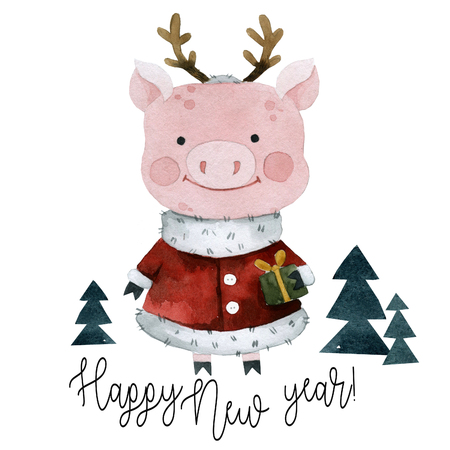 Pig in a deer costume wishes a happy new year, watercolor Banco de Imagens