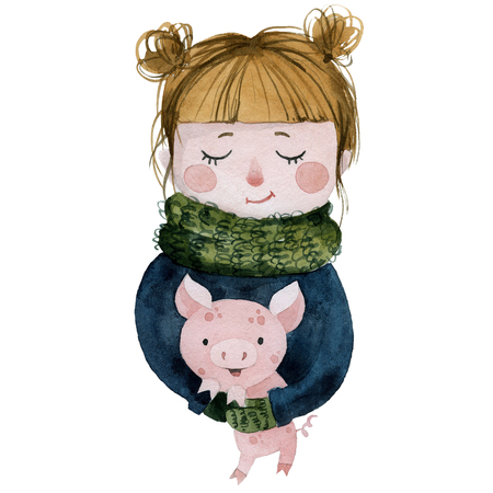 girl with a piglet, new year 2019, watercolor