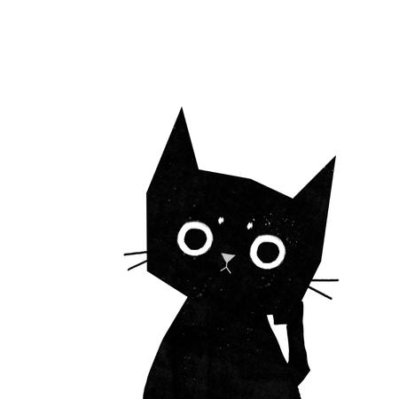 cute black cat thinks