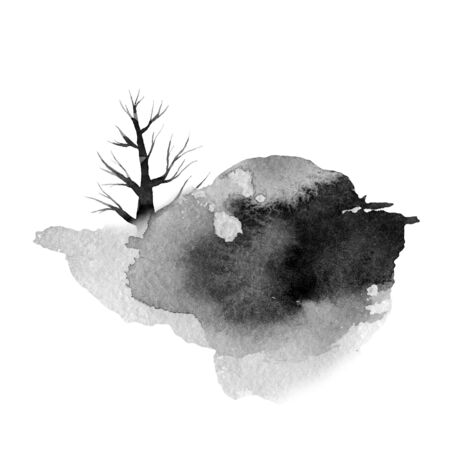 big gray spot with a tree, monochrome  illustration, hand drawing Banque d'images - 130743283