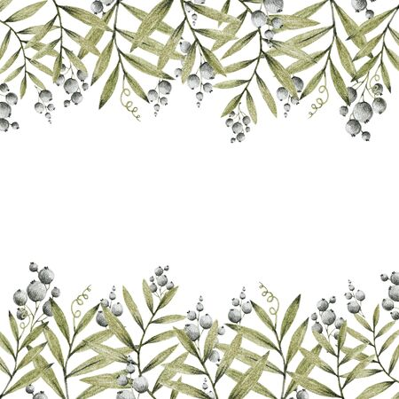 green and gray leaves branches and flowers, freehand drawing in pencil illustration, frame template for design of wedding invitations, background