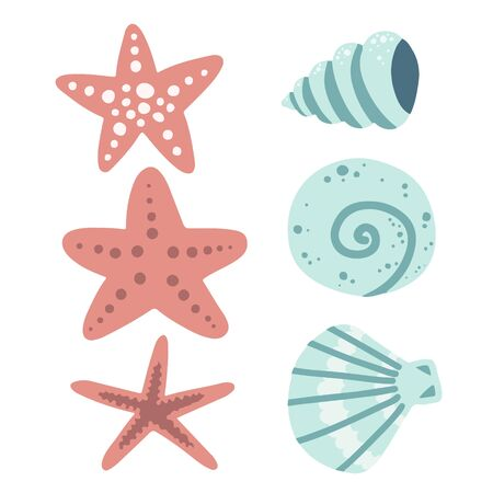 mollusks and starfish, underwater world set of elements, sea ocean, vector illustration hand drawing