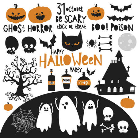set of halloween elements classic colors black orange, party card invitation, banner background, hand drawing vector