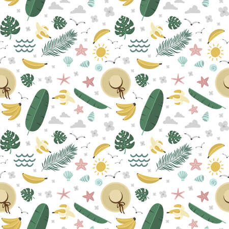 summer seamless pattern, bananas and palm trees, hat and mollusks, vector illustration hand drawing