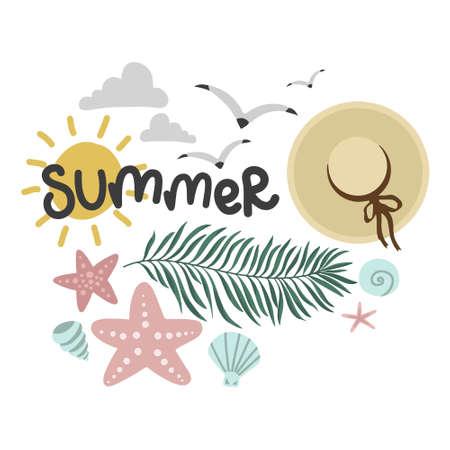 summer set, palm leaf and hat, seagulls mollusks, vector design template, lettering illustration hand drawing