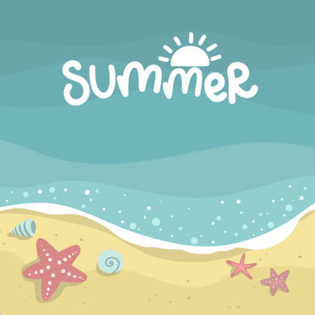 summer sea with waves background, starfish and mollusks, yellow sand beach, vector design template, lettering illustration hand drawing