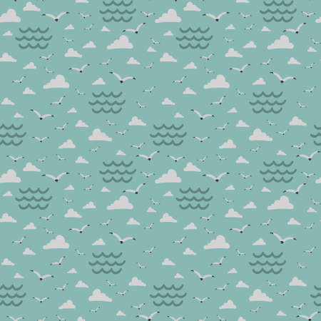 sea ​​with birds seagull, vector seamless pattern, illustration hand drawing