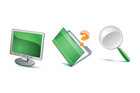 Green isolated icons on white Stock Vector - 17360740