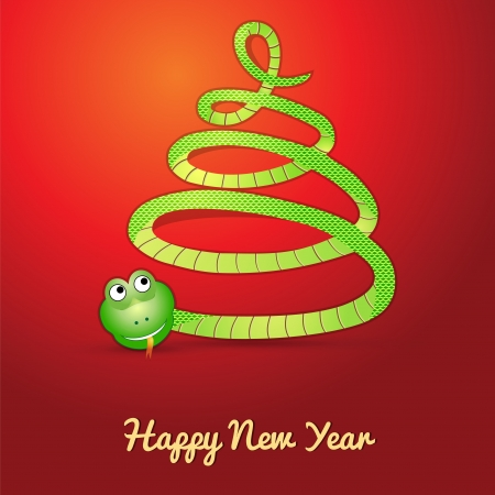 Card with a snake (symbol of 2013 year) in shape of a christmas tree Illustration