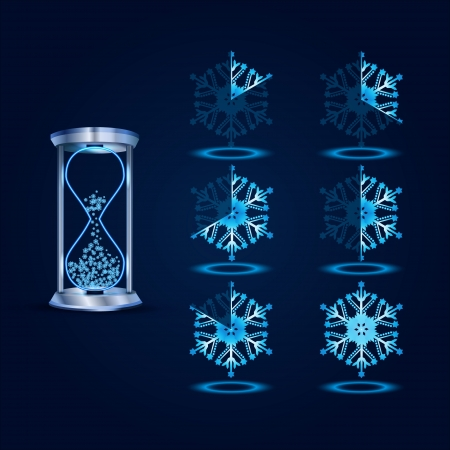 New Year Blue Preloader Elements Vector