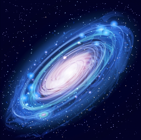 blue spiral: Blue Beautiful Glowing Andromeda Galaxy with Stars