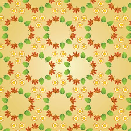 Seamless Season Pattern With Sun and Leaves Stock Vector - 17360752