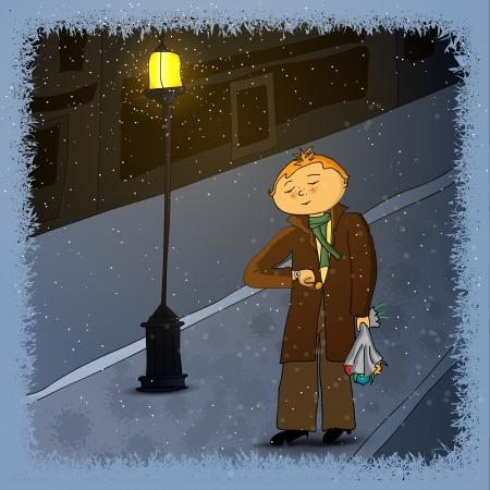 originalidad: Hombre joven esperando una chica para una cita en una noche de invierno